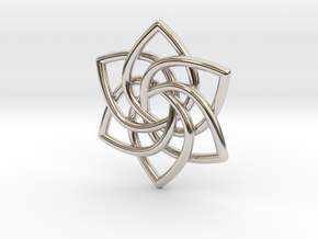 6 Pointed Celtic Knot Pendant in Rhodium Plated Brass