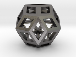 "Rhombic Triacontahedron Steel 1"" in Polished Nickel Steel"