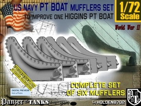 1/72 PT Higgins Muffler Set201 in Smooth Fine Detail Plastic