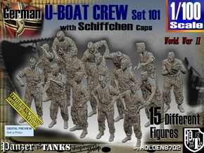 1/100 German U-Boot Crew Set101 in Smooth Fine Detail Plastic