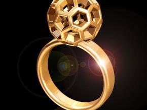 Soccer Ball Ring in Polished Gold Steel