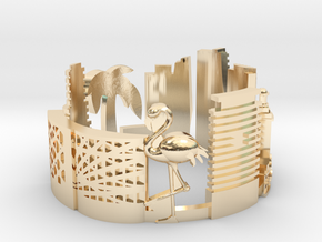 Miami Skyline - Cityscape Ring in 14k Gold Plated Brass: 7.5 / 55.5