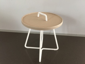 1:12 Table occasional round - large in White Processed Versatile Plastic