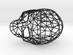 Skull Wireframe in Black Natural Versatile Plastic: Medium