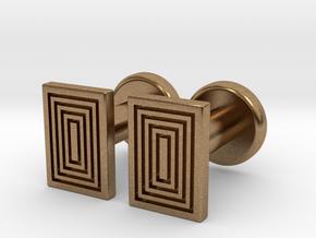 Geometric, Minimalistic Men's Rectangular Cufflink in Natural Brass