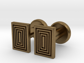 Geometric, Minimalistic Men's Rectangular Cufflink in Natural Bronze