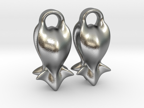 """A fish tail"" Earrings in Natural Silver"