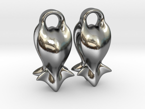 """""""A fish tail"""" Earrings in Polished Silver"""
