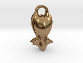 """A fish tail"" Pendant in Natural Brass"