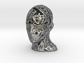 Male Voronoi Head Scale 0.25 - SANDSTONE in Fine Detail Polished Silver