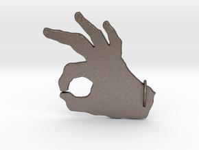 Under-Hand Keychain in Polished Bronzed Silver Steel: Medium