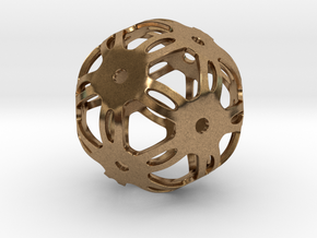 Well Rounded Symmetrical Sphere  in Natural Brass: Medium