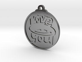 Love You face pendant in Polished Silver