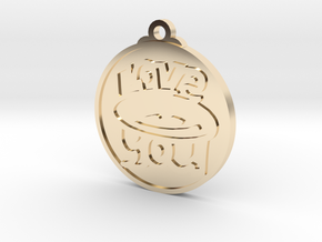 Love You face pendant in 14K Yellow Gold