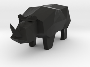 Rocky the Rhino  in Black Natural Versatile Plastic: Medium