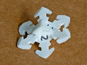 Snowflake D6 in White Natural Versatile Plastic