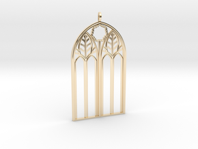 Neo-Gothic Arch Pendant in 14k Gold Plated Brass