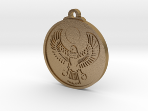 Egyptian RA Falcon Pendant in Polished Gold Steel