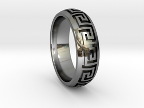 Greek Pattern Ring 01 in Fine Detail Polished Silver