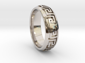 Greek Pattern Ring 01 in Rhodium Plated Brass