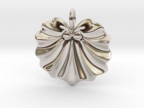 Seashell Fan Pendant in Rhodium Plated Brass