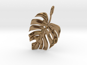 Monstera Pendant in Natural Brass