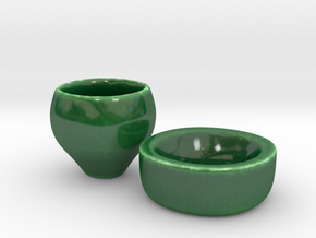 5cm high espresso cup and ringed coaster in Gloss Oribe Green Porcelain