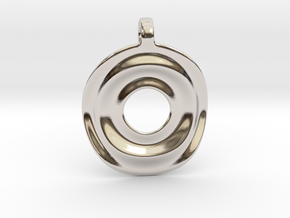 Disk shaped pendant in Rhodium Plated Brass