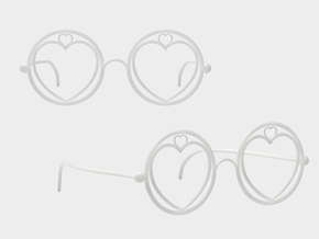 Heart Glasses in White Natural Versatile Plastic