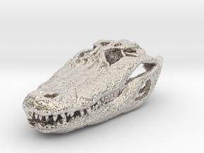 Alligator Skull pendant in Rhodium Plated Brass