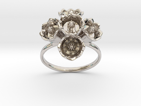 The Lily of The Valley Ring II in Rhodium Plated Brass