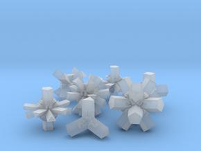 Brutalist Dice Set — Version 1 (7 pc.) in Smooth Fine Detail Plastic