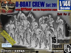 1/144 German U-Boot Crew Set201 in Smooth Fine Detail Plastic