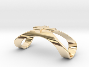 Finger Splint Ring with Cross in 14k Gold Plated Brass