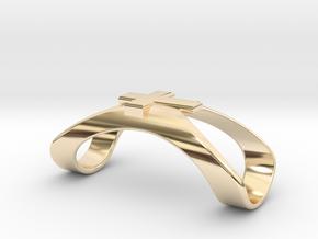 Finger Splint Ring with Cross in 14k Gold Plated Brass