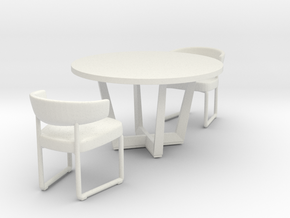 Miniature Tauro Chair & Uves Table in White Natural Versatile Plastic: 1:12