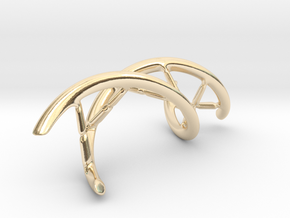 DNA Pendant, 4cm lengh in 14K Yellow Gold