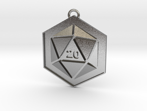 D20 Keychain or Necklace Pendant in Natural Silver