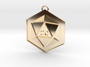 D20 Keychain or Necklace Pendant in 14k Gold Plated Brass