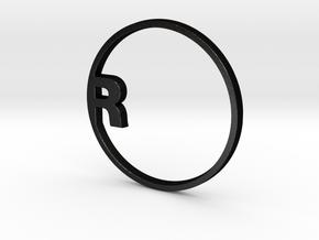 "RONDU Napkin Ring ""R"" in Matte Black Steel"
