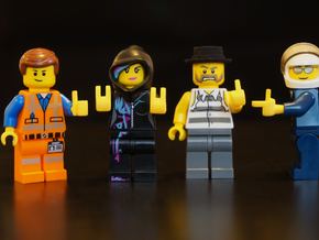 4 Custom Hands for Lego - Right set in White Natural Versatile Plastic