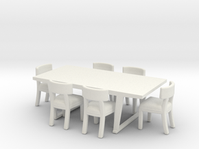Miniature Arethusa Chair & Lucullo Table - Maxalto in White Natural Versatile Plastic: 1:24