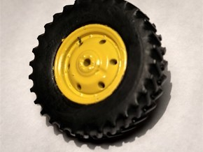 """1/64 Scale 42"""" Green & Yellow Rear Wheels & Tires in Smooth Fine Detail Plastic"""