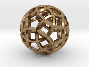 Rhombicosidodecahedron Pendant in Natural Brass
