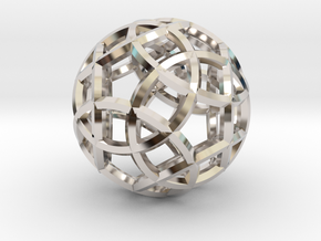 Rhombicosidodecahedron Pendant in Rhodium Plated Brass