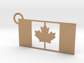 Canada Flag Keychain in Polished Brass