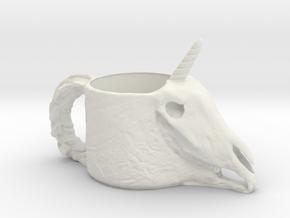 Unicorn Skull Cup in White Natural Versatile Plastic