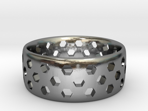 Hex Cutout Ring in Polished Silver: 6 / 51.5