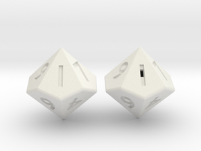 Weighted and Standard D10 Dice Set in White Natural Versatile Plastic