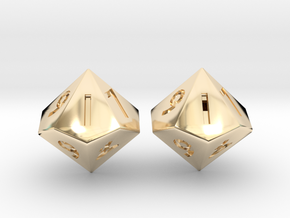 Weighted and Standard D10 Dice Set in 14K Yellow Gold